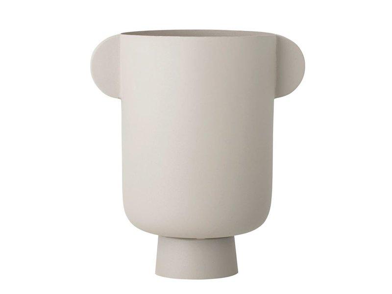 Bloomingville Matte Beige Metal Vase with Handles