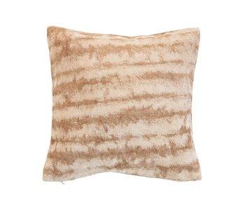 Brown & Beige Cotton Blend Tie-Dyed Pillow