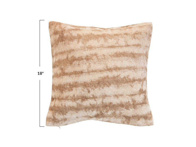 Bloomingville Brown & Beige Cotton Blend Tie-Dyed Pillow