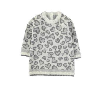 Grey Leopard Print Knit Dress