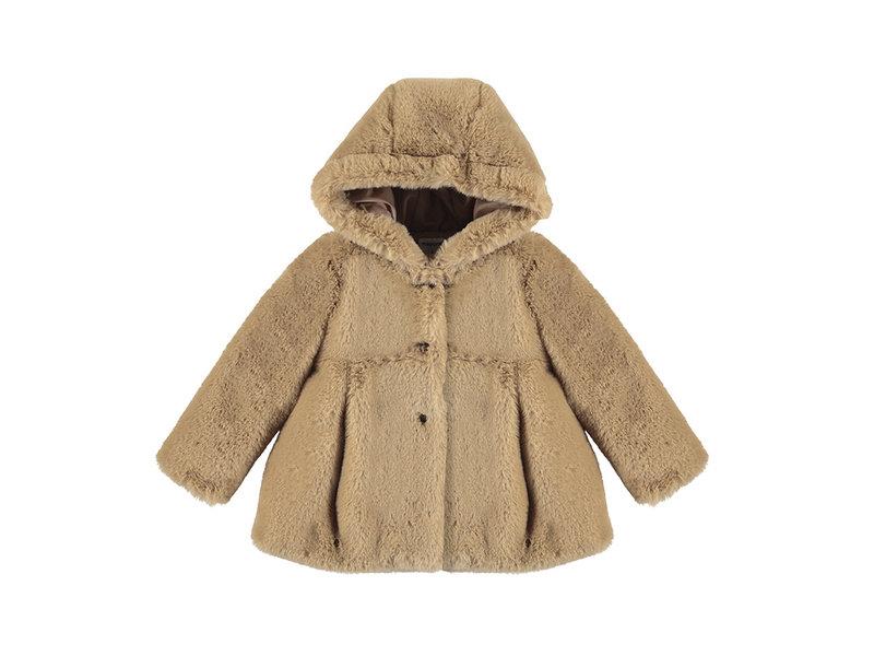 Mayoral Hazelnut Faux Fur Coat
