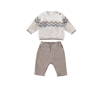 Chevron Taupe Long Trousers with Sweater