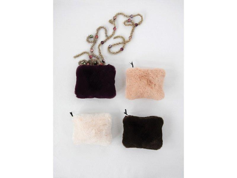Creative Co-OP Faux Fur Zip Pouch