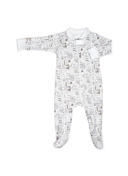 Chicago Gray Zip Footie Pajamas