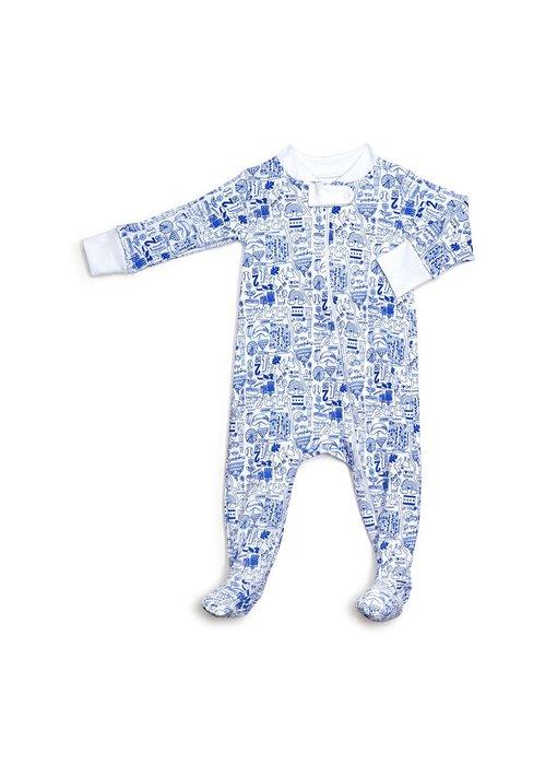 Chicago Zip Blue Footie Pajamas