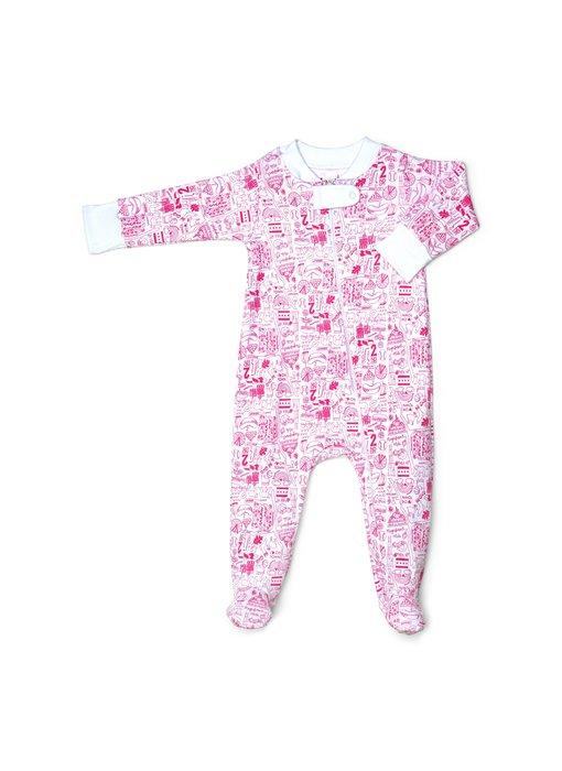 Chicago Zip Pink Baby Footie Pajamas