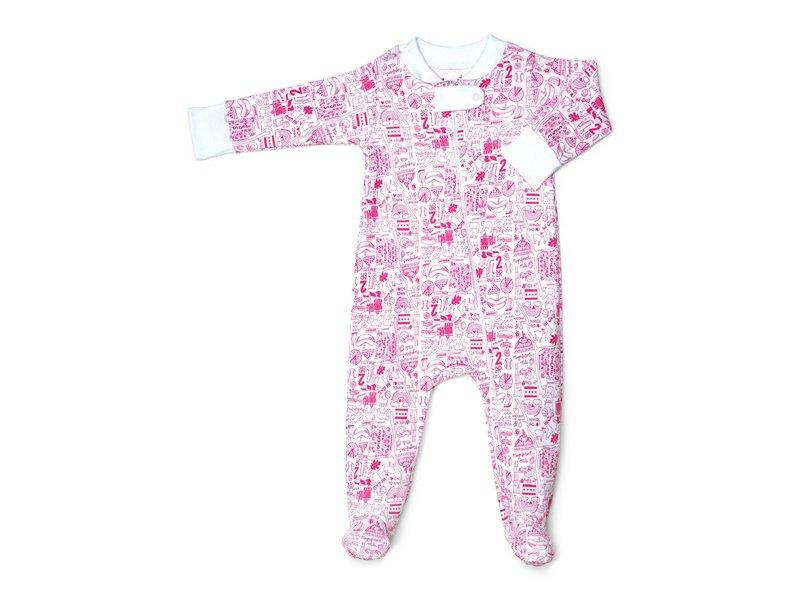 Joy Street Kids Chicago Zip Pink Baby Footie Pajamas