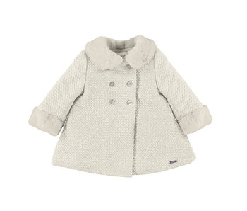 Double-breasted Cream Knit Coat