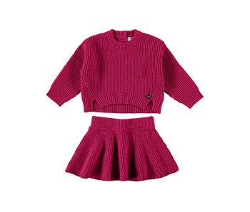 Raspberry Tricot Sweater & Skirt