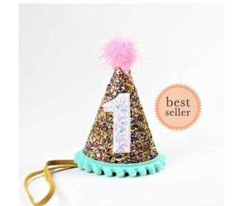 1 Year Aqua Trim Confetti Party Hat