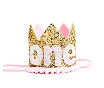 1 Year Pale Gold Glitter Crown