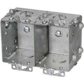 VISTA 1204-2-HV - 347V 2½'' DEEP 2 GANG BOX  W/MOUNTING EARS & KNOCKOUTS