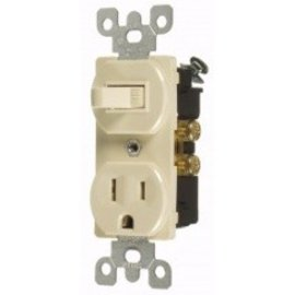 VISTA 15A COMBINATION TOGGLE SWITCH & OUTLET - S.P. - IVORY