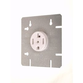 """VISTA DRYER OUTLET W/ 4 11/16"""" COVER PLATE - 30A-120/240V - WHITE"""