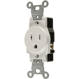 VISTA 15A/125V SINGLE STANDARD OUTLET - WHITE