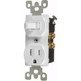 VISTA 15A COMBINATION TOGGLE SWITCH & OUTLET - S.P. - WHITE