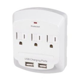 VISTA DOUBLE USB CHARGER WITH TRIPLE OUTLET TAP ADAPTER - WHITE