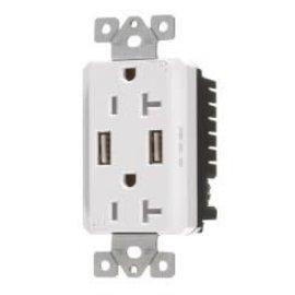 VISTA VISTA 20A TAMPER RESISTANT - USB DECORATOR DUPLEX OUTLET -  WHITE