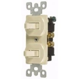 VISTA 15A COMBINATION DUAL TOGGLE SWITCHES - S.P. - IVORY