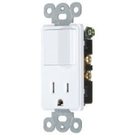VISTA 15A COMBINATION DECORATOR SWITCH & OUTLET - S.P. - WHITE
