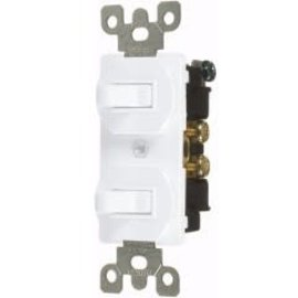 VISTA 15A COMBINATION DUAL TOGGLE SWITCHES - S.P. - WHITE