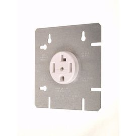"VISTA DRYER OUTLET W/ 4 11/16"" COVER PLATE - 30A-120/240V - WHITE"