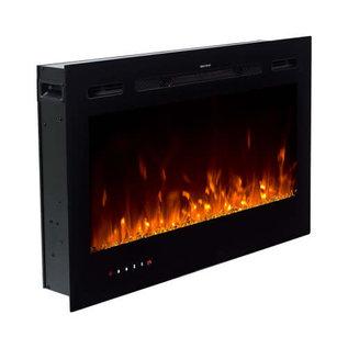 "ORTECH LED Fireplace 36"" Black, w/ 8 color LED Flames, log, pebble & crystal media"