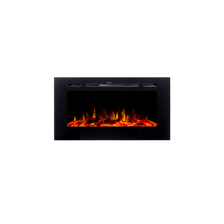 "ORTECH LED Fireplace 40"" Black, w/ 8 color LED Flames, log, pebble & crystal media"
