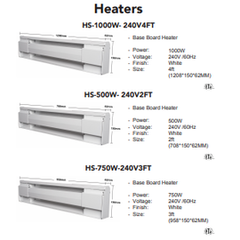 ORTECH HS-500W-240V 2FT BASEBOARD HEATERS
