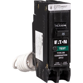EATON 15 AMP - SINGLE POLE - COMBIMATION AFCI BREAKER, PLUG-IN NEUTRAL