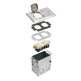 ARLINGTON NICKEL ONE GANG METAL FLOOR BOX KIT