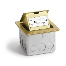 RACKATIERS COUNTERTOP ELECTRICAL BOX - BRASS WITH 20 AMP GFI