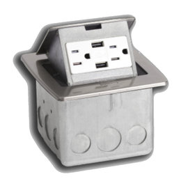 RACKATIERS COUNTERTOP ELECTRICAL W/2 USB PORTS - OFF-WHITE WITH 5 AMP SINGLE POWER