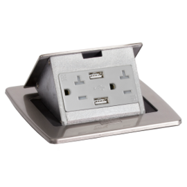 RACKATIERS COUNTERTOP ELECTRICAL W/2 USB PORTS - STAINLESS STEEL (20 AMP)