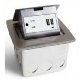 RACKATIERS COUNTERTOP ELECTRICAL W/2 USB PORTS - STAINLESS STEEL WITH 15 AMP SINGLE POWER