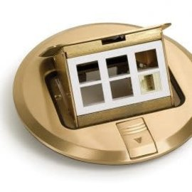 RACKATIERS FLOOR COVER POP-UP BRASS FOR DATA WITH 6 COMMUNICATION / 1 DATA PORT