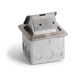 RACKATIERS FLOOR POP-UP ELECTRICAL BOX - STAINLESS STEEL SQUARE 20 AMP GFI