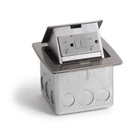 RACKATIERS OUNTERTOP ELECTRICAL BOX - STAINLESS STEEL WITH 20 AMP GFI