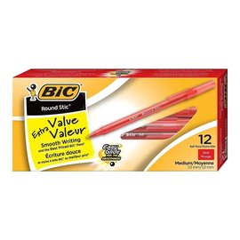 BIC BIC Round Stic Extra Value Ballpoint Stick Pens, 1.0mm, Red, 12/Pack