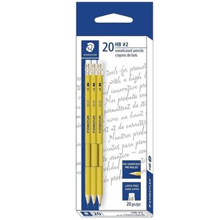 STAEDLTER Staedtler Presharpened Yellow Pencils with Erasers, 20/Pack