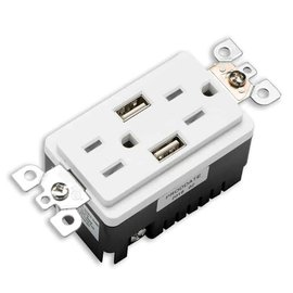 VOTATEX VOTATEC 15A TAMPER RESISTANT - USB DECORATOR DUPLEX OUTLET - WHITE