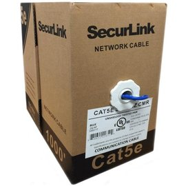 1000FT BLUE SOLID UTP CAT5E (350MHZ) NETWORK CABLE - FT4/CMR - SECURELINK