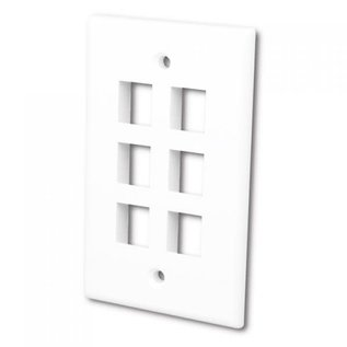FLUSH WALLPLATE FOR 6 KEYSTONE JACKS - BRIGHT WHITE
