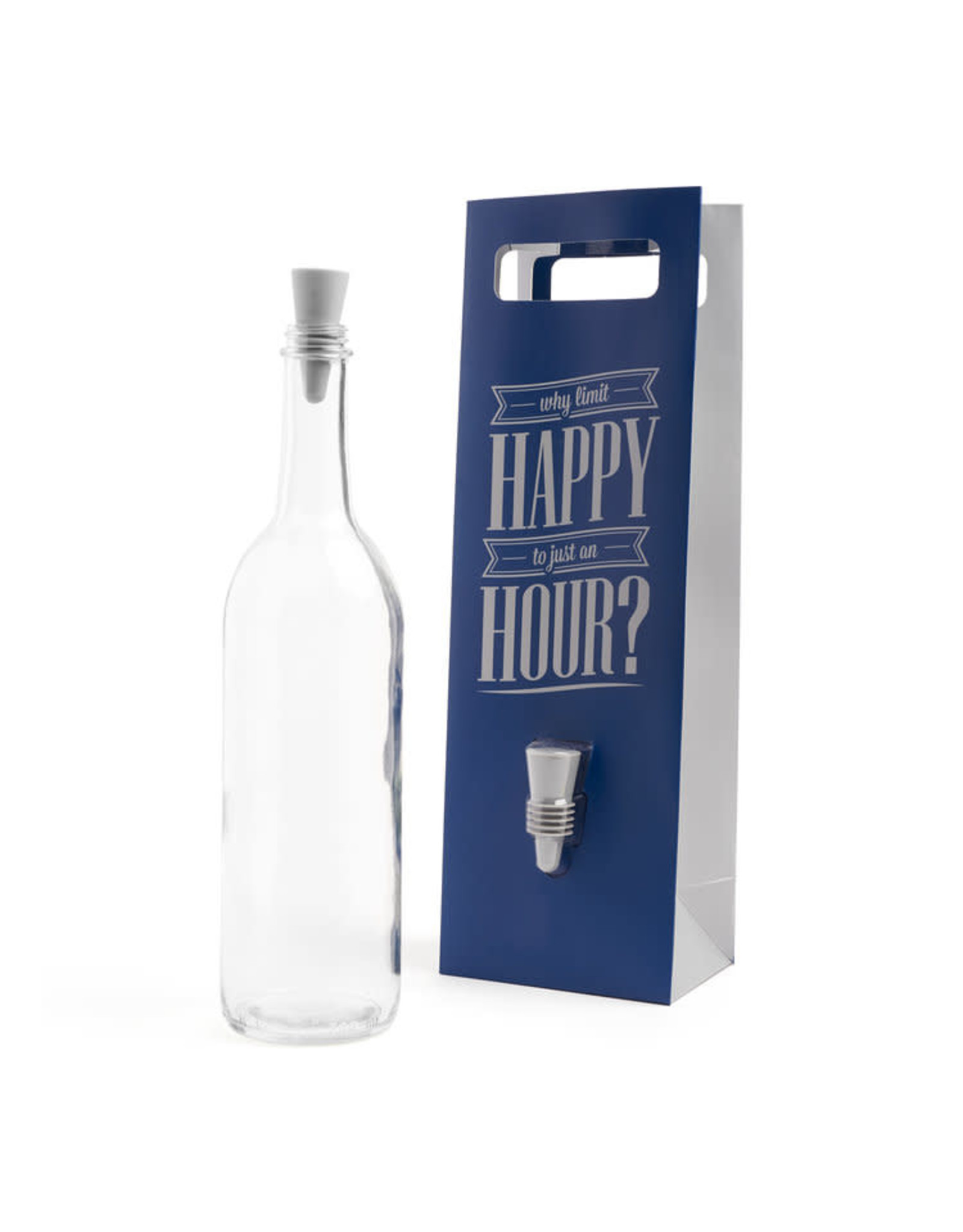 """""""Happy Hour"""" Wine Bottle Bag with Stopper"""