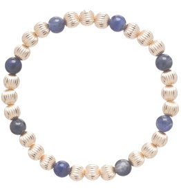 ENewton Dignity Gold Sincerity Pattern 6mm Bead Bracelet-Sodalite