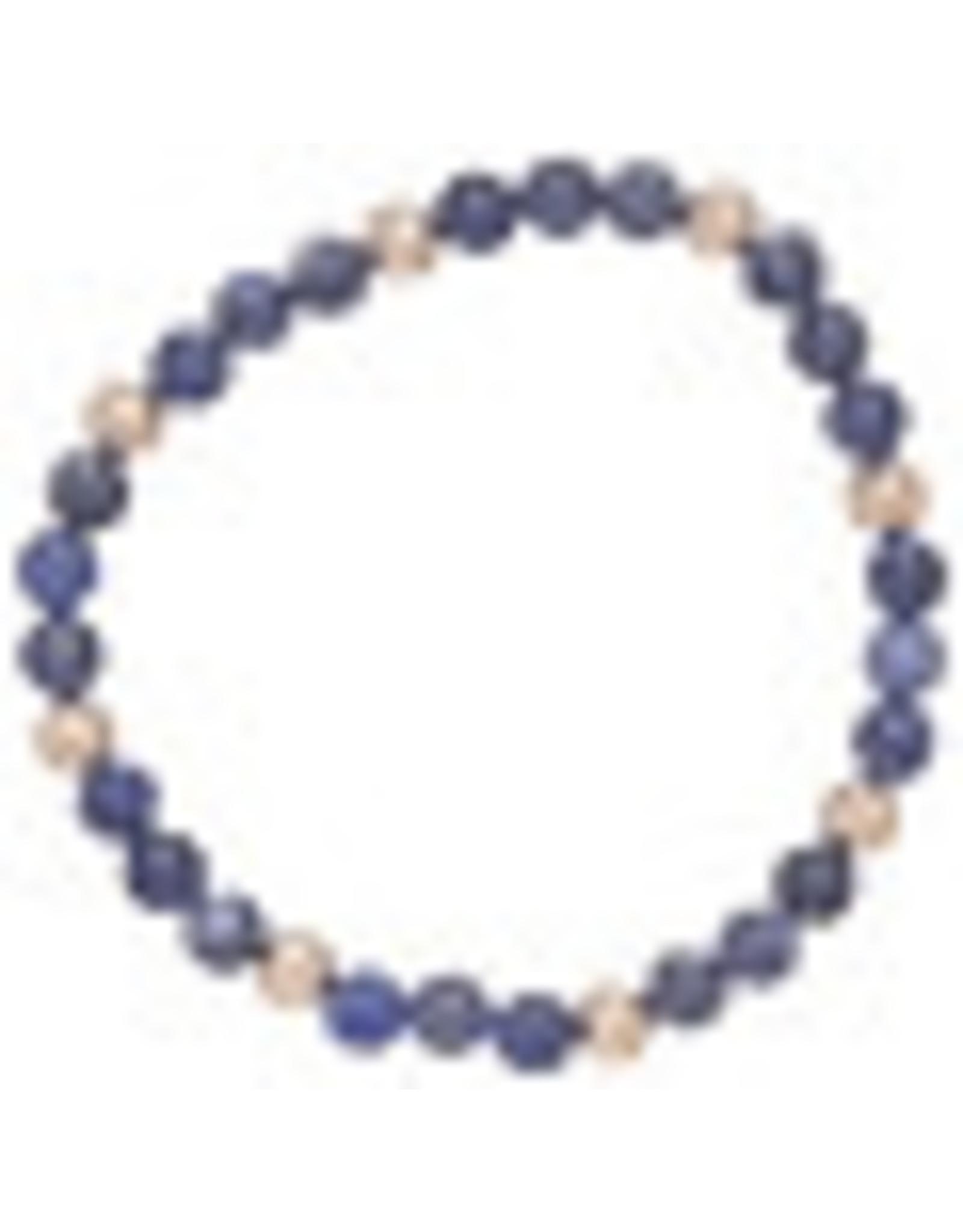 ENewton Sodalite Sincerity Pattern 6mm Bead Bracelet Gold