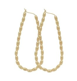 "ENewton Beaded Oval Gold 2.25"" Hoop Harmony Gold"