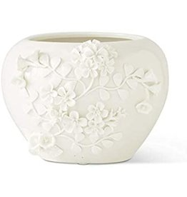 K&K Interiors White Ceramic Vase with Raised Jasmine Flower Wide