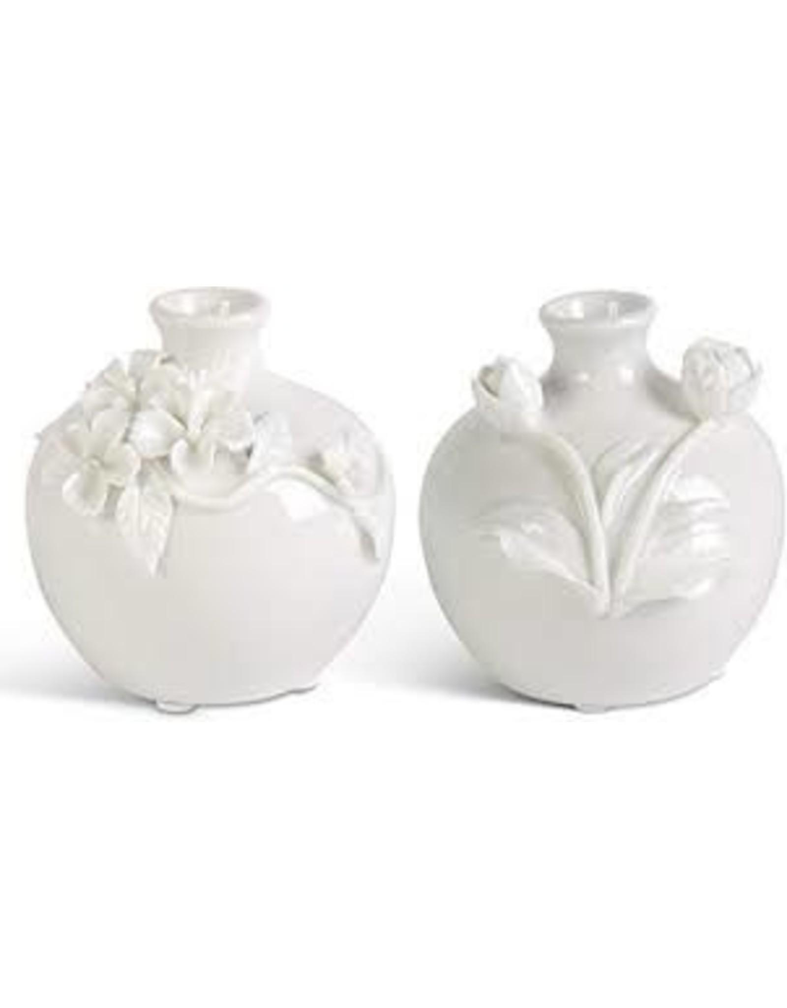 K&K Interiors Small White Vase With Raised Flowers