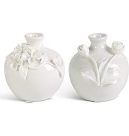 K&K Interiors Small White Vase With Raised Flowers